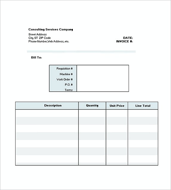 consultant invoice template excel