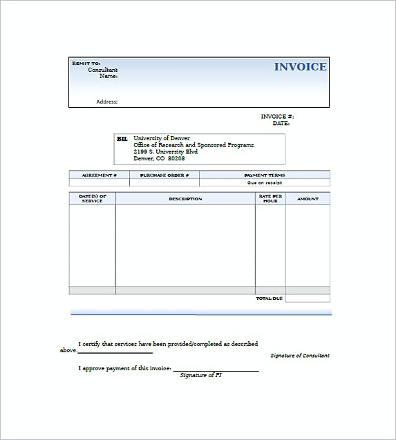 consulting invoice template Free
