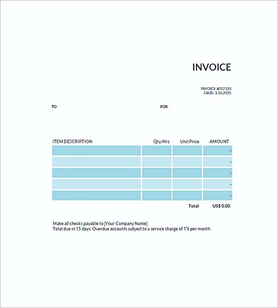 free standard invoice templates uk