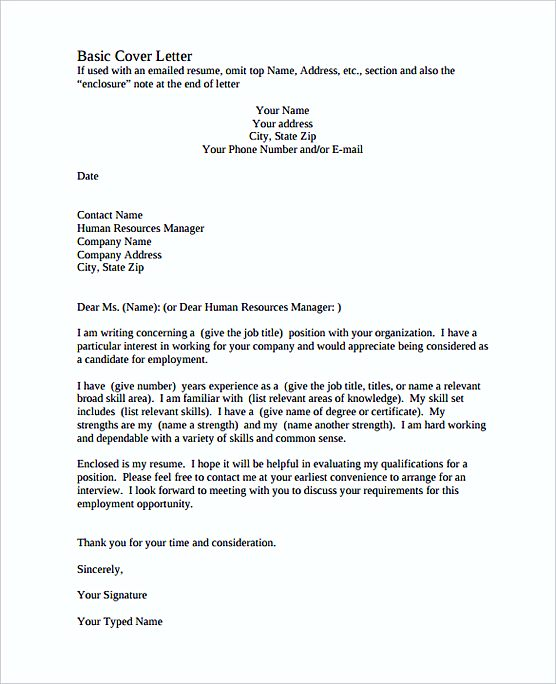 perfect Basic Cover Letter PDF templates Free