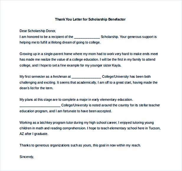 Scholarship Thank You Letter for Further Gratitude – Thank You Letter for Scholarships