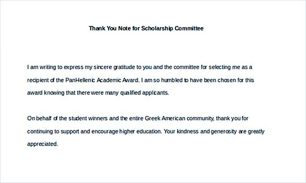 thank you note for scholarship committee1