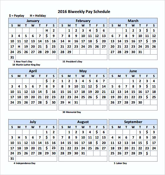 2016 Biweekly Pay Calendar templates Printable