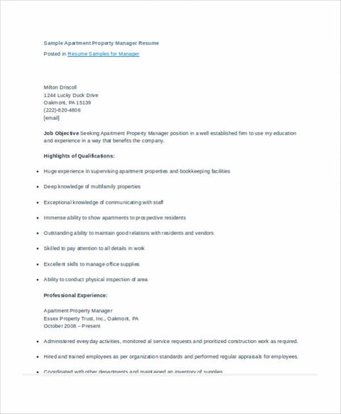Property Management Cover Letter Common Basic Information