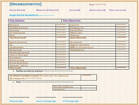 Blank Employee Payslip Report templates MS Word
