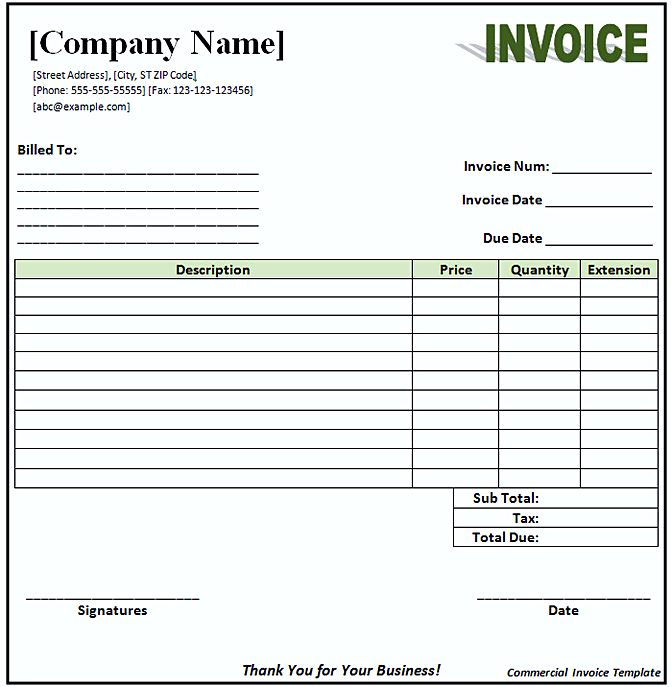 Commercial Invoice templates1