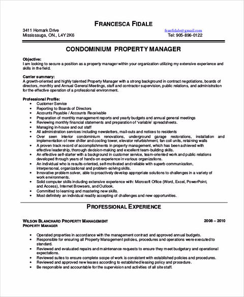Property management cover letter common basic information for Jim sweeney cover letter