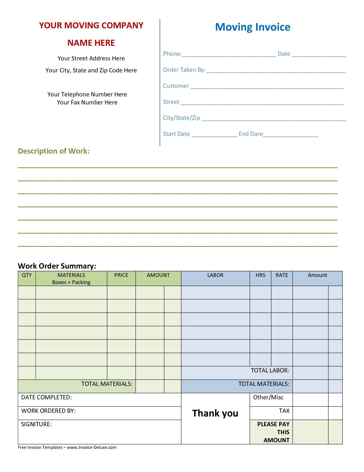 moving invoice template to download and print for free