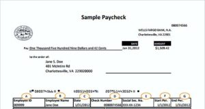 Wells Fargo Bank Payroll Check templates PDF