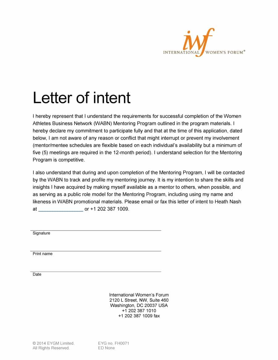 Make A Good The Letter Of Intent